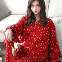 达尔丽长袖睡衣女秋冬纯棉开衫甜美可爱家居服双面全棉睡衣套装 (¥169(券后))