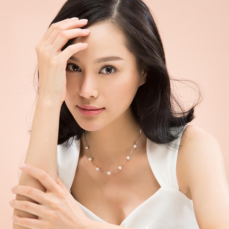 银泰同款 银淡水珍珠满天星项链 925 白色 8mm 7 京润倾城之恋
