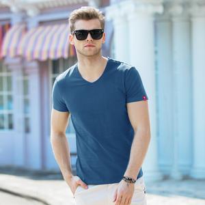 夏季男士纯色半袖冰丝t恤