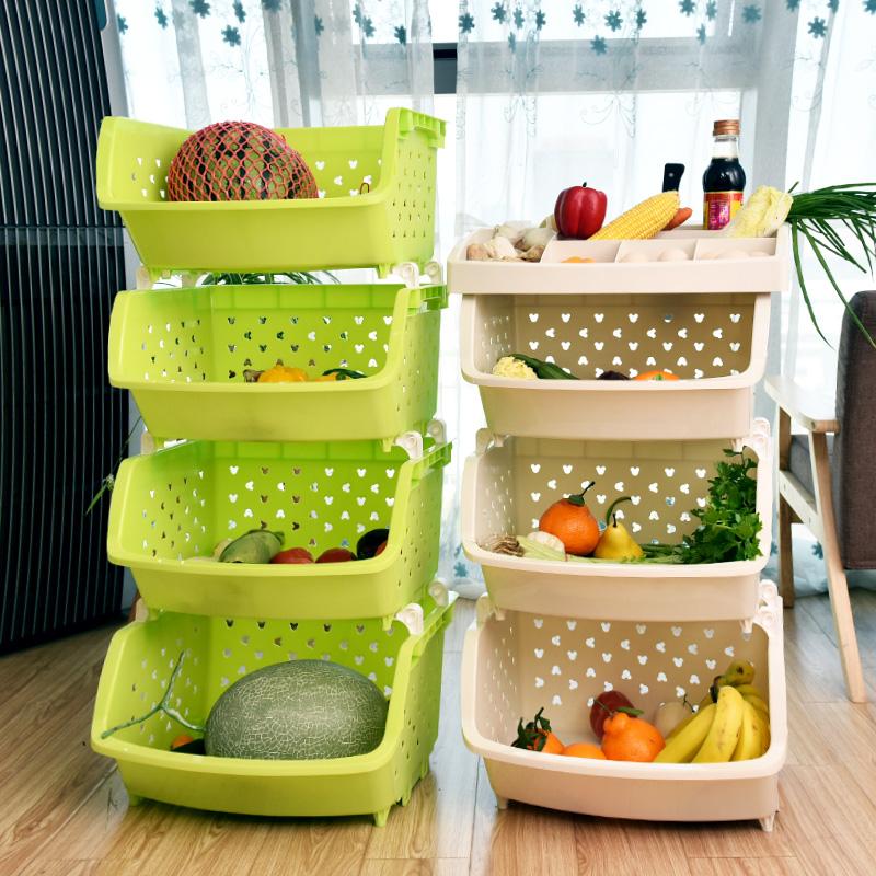 百露加厚大号厨房置物架落地水果蔬菜置物架厨房用品转角架菜架子
