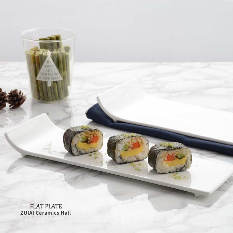 純白酒店餐具陶瓷平盤翹邊盤長方平盤壽司盤蛋糕盤西餐盤歐式盤子