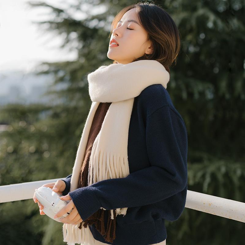 围巾女秋冬季韩版百搭ins可爱少女士冬天学生日系针织围脖男情侣