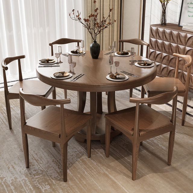 Nordic Solid Wood Dining Table And Chair Combination Round Dining Table Modern Minimalist Home With Turntable