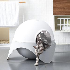 zeze猫砂盆全封闭式雪屋猫厕所大号UFO猫砂盆防外溅膨润土猫砂盆