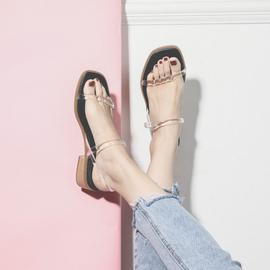 半曲一字带透明凉鞋女夏天中跟复古粗跟2020新款罗马凉鞋女仙女风