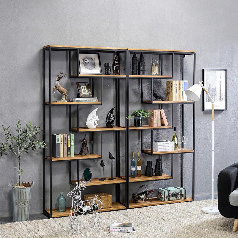 铁艺简易书架落地实木简约多层储物架玄关书柜创意家具隔断置物架