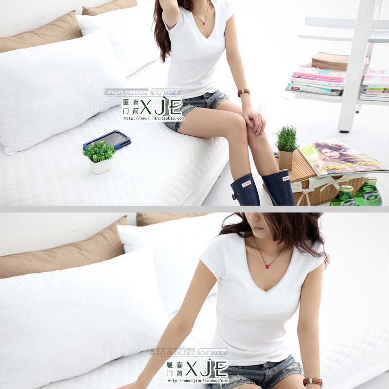 新款纯白色t恤女短袖夏季纯棉显瘦打底衫韩版体恤修身紧
