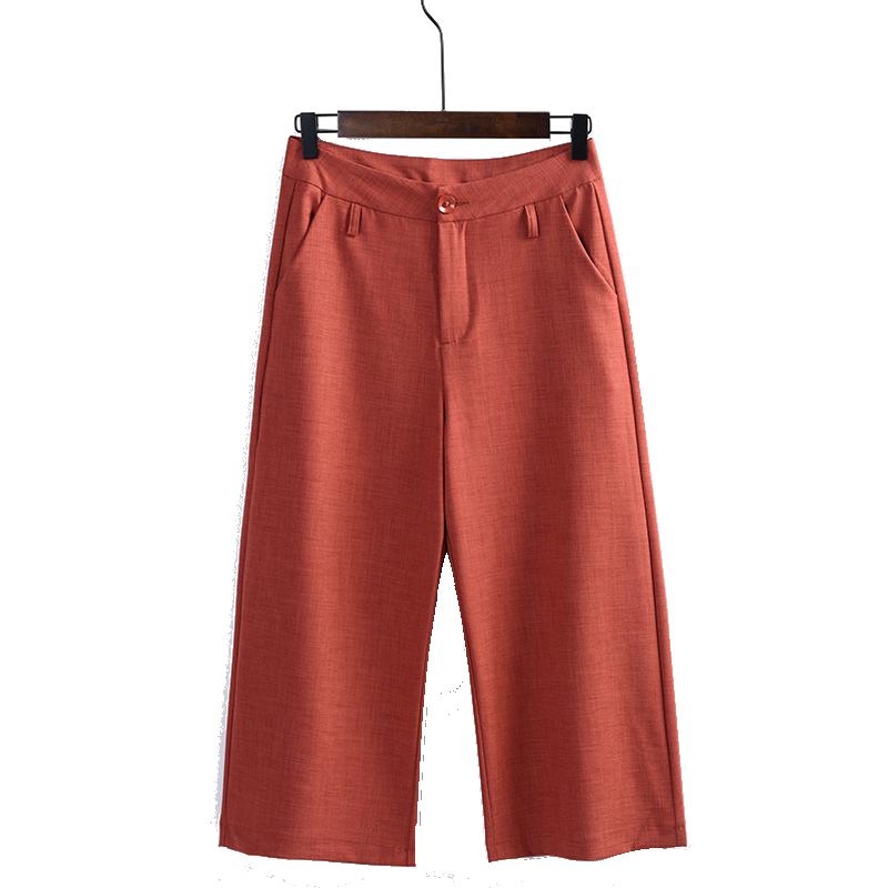 阔腿裤女夏薄款七分裤2018新款夏季高腰韩版宽松垂感八分直筒裤子