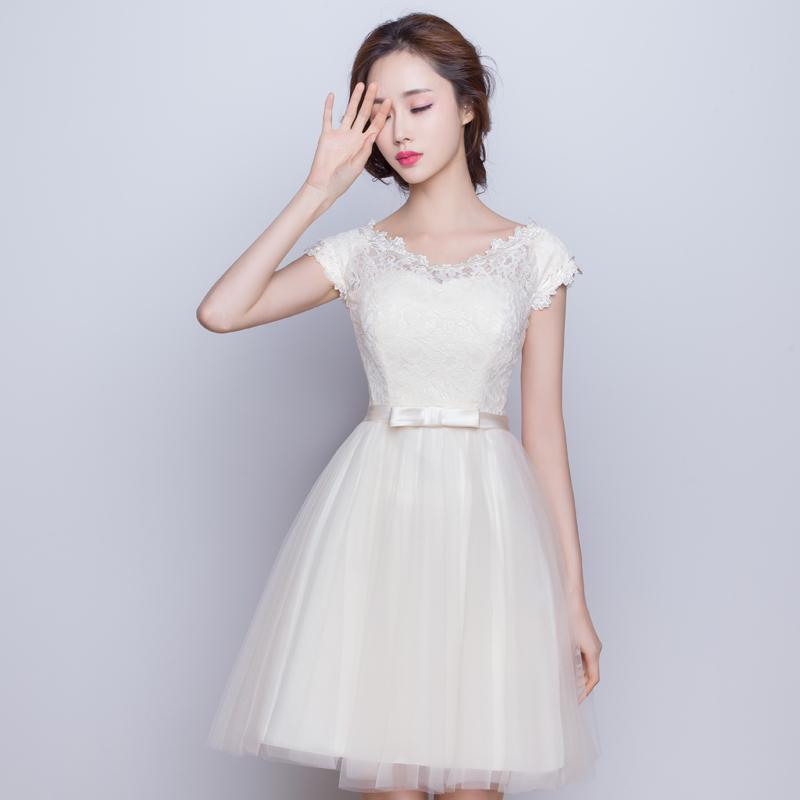 香槟色伴娘服2018新款短款姐妹团蓬蓬裙学生小礼服晚礼服长款少女