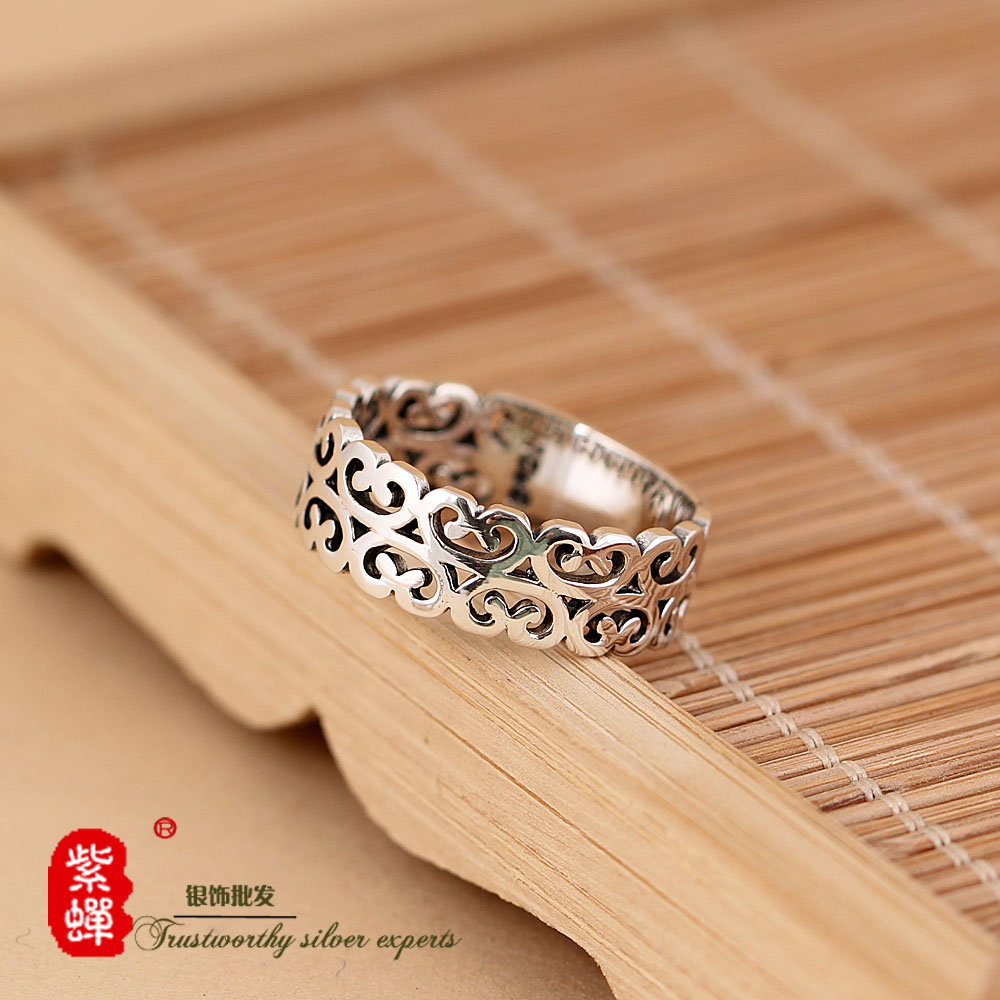 纯银戒指戒子女  c 简约镂空复古手工泰银食指戒指环 设计师款 S925