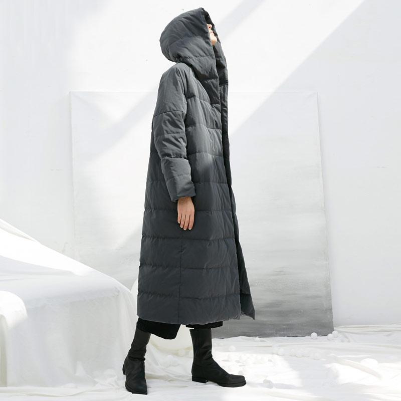 花树果原创设计女装[无染]2019冬季宽松加厚超长款白鸭绒羽绒服女
