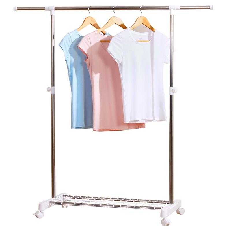 晾衣架落地单杆式室内不锈钢挂衣架阳台折叠式衣服架子伸缩晒被架