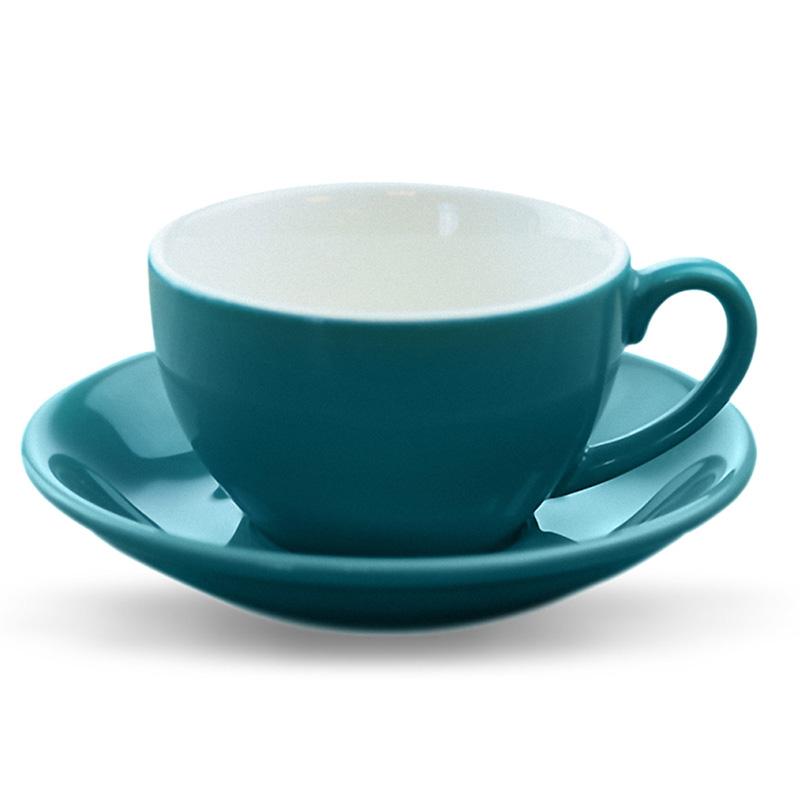 拉花咖啡杯 花式大口杯 咖啡杯套装连碟 欧式拿铁杯 多色 200ml