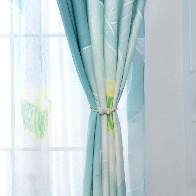 现代简约新中式客厅卧室成品窗帘布全遮光高档大气轻奢窗纱帘荷花