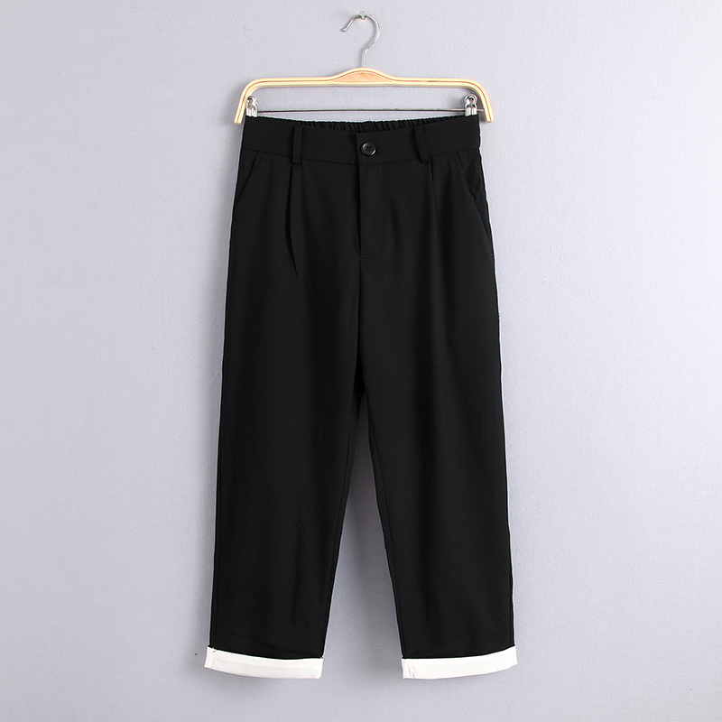 西装裤女九分秋季2019新款薄款宽松西裤黑色裤子女哈伦裤休闲直筒