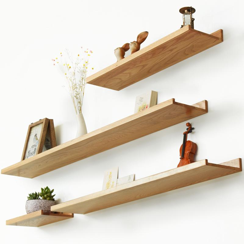 家逸實木一字隔板墻上置物架壁掛客廳臥室電視墻面擱板創意一字板
