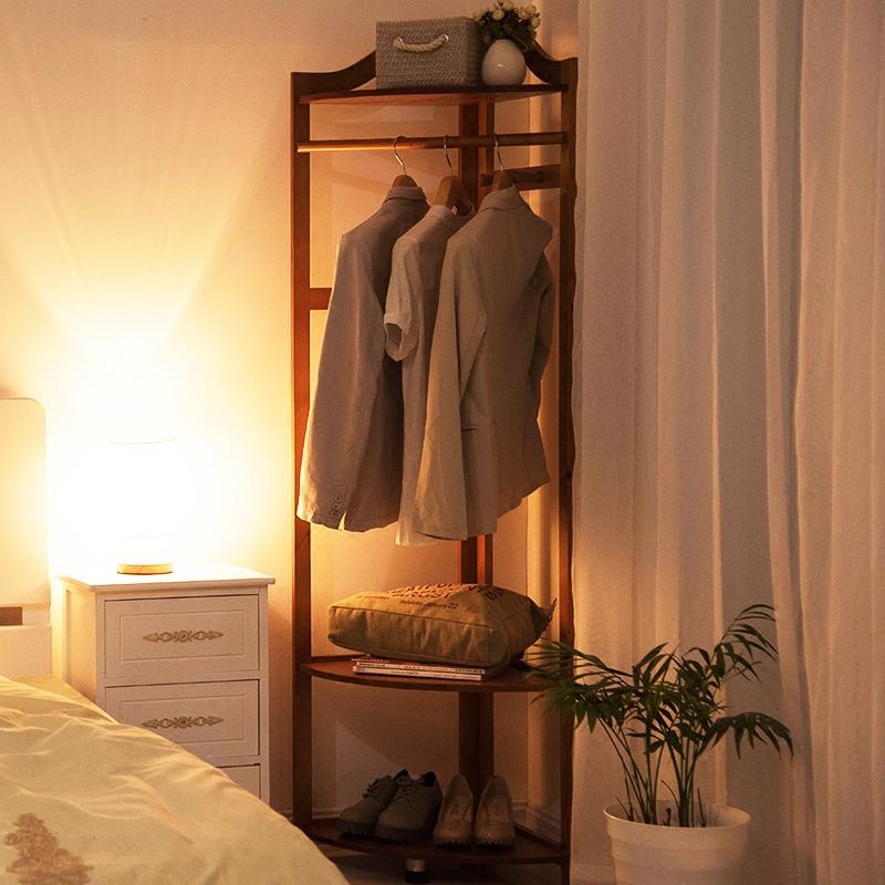 家逸 实木衣帽架落地卧室挂衣架转角衣帽架实木落地衣架衣服架子