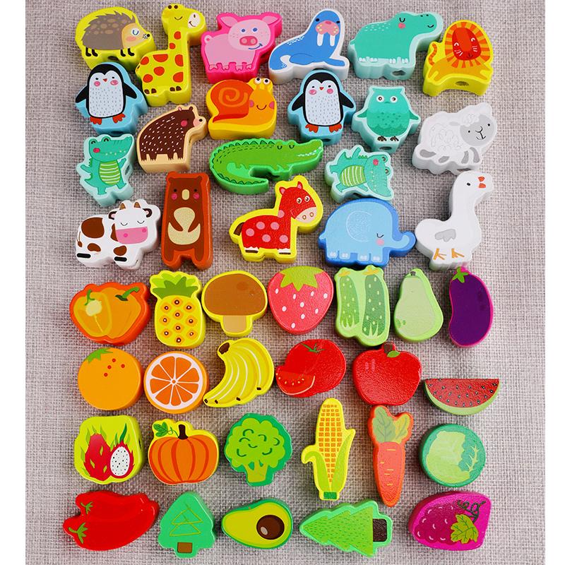 婴幼儿童串珠益智多功能玩具宝宝穿线珠子1-2周岁4积木头3男女孩5