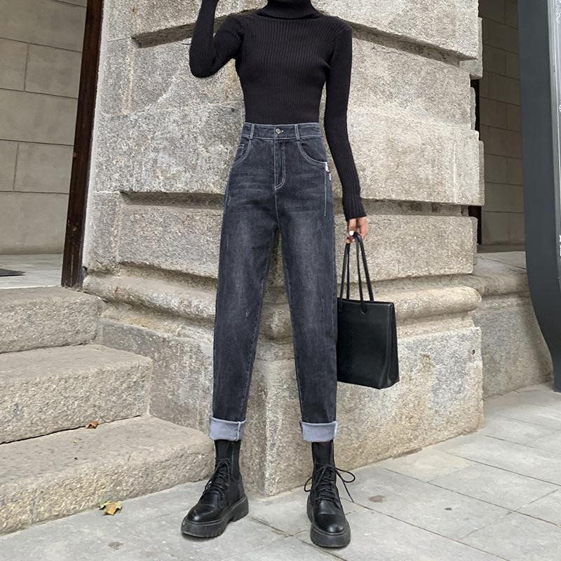 牛仔裤女2021年新款春秋季黑色高腰显瘦卷边直筒宽松哈伦老爹裤子主图