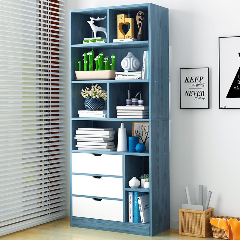 简易书架家用卧室学生书柜简约客厅落地置物柜多层省空间收纳架子