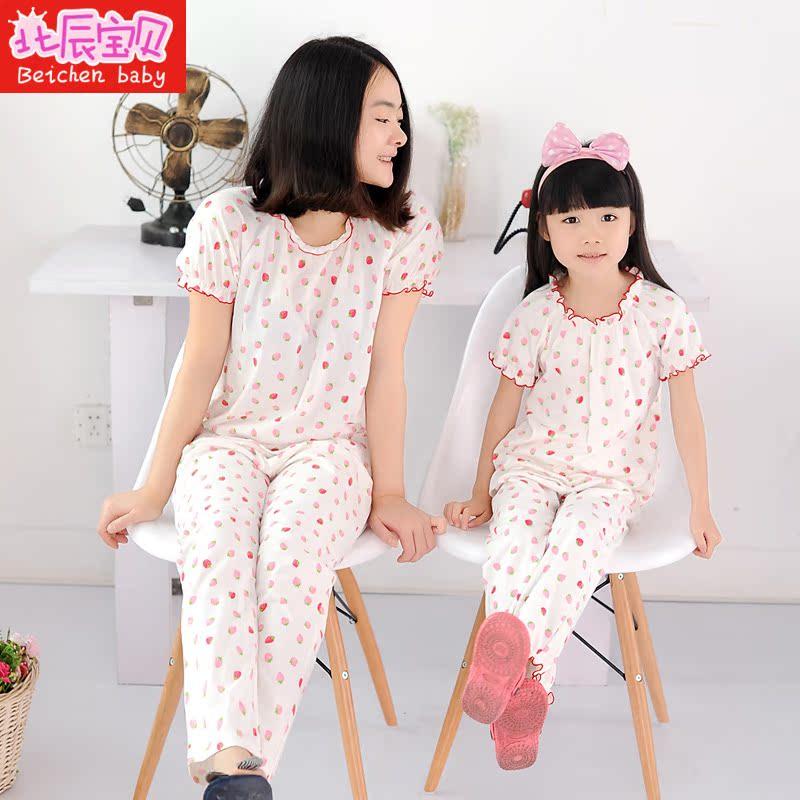女童睡衣夏薄款纯棉短袖套装女宝宝中大童女孩家居服儿童睡衣夏
