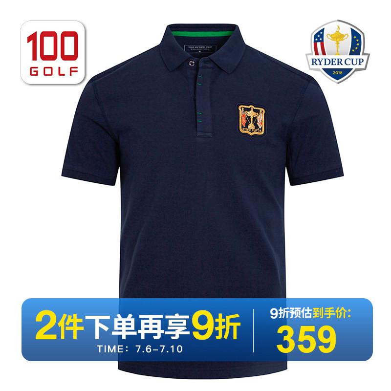 RyderCup萊德杯高爾夫服裝男 夏老LOGO珠地純棉高爾夫短袖T恤