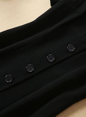 欧洲站2021年夏季明星贝嫂走秀款职业女装气质黑色修身显瘦连衣裙