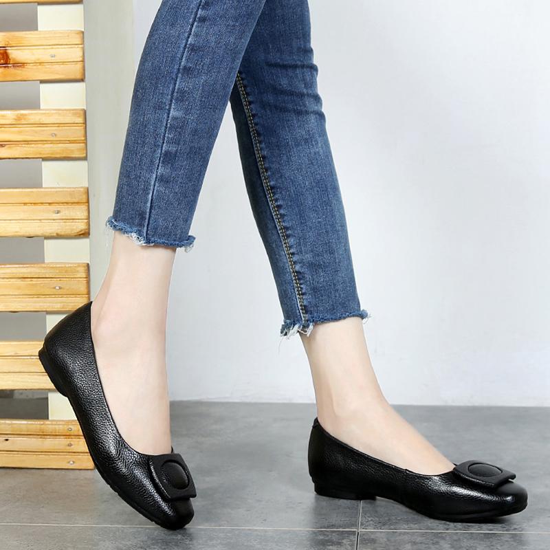 春季新款真皮方头单鞋女浅口瓢鞋韩版平底鞋全牛皮女鞋软底工作鞋