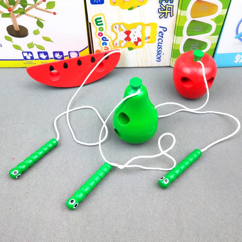 儿童小虫吃苹果水果串珠串线穿绳玩具宝宝木制益智蒙氏教具1-2岁