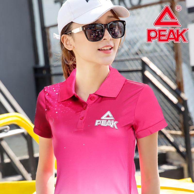 匹克短袖t恤女2020春季新款立领Polo衫健身跑步上衣休闲运动服