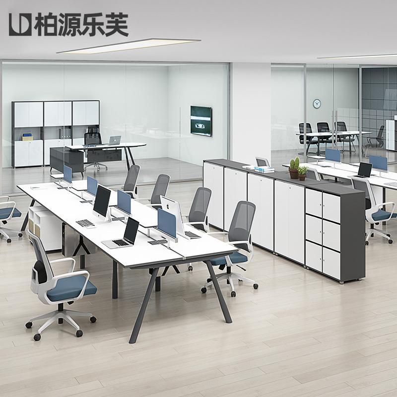 职员电脑办公桌简约现代办公室家具四人位员工桌椅组合工位桌子