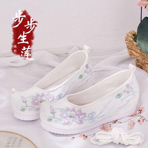 原创珍珠单鞋白凤九鞋子千层软底翘头弓鞋纯色芙蓉荷花厚底绣花鞋