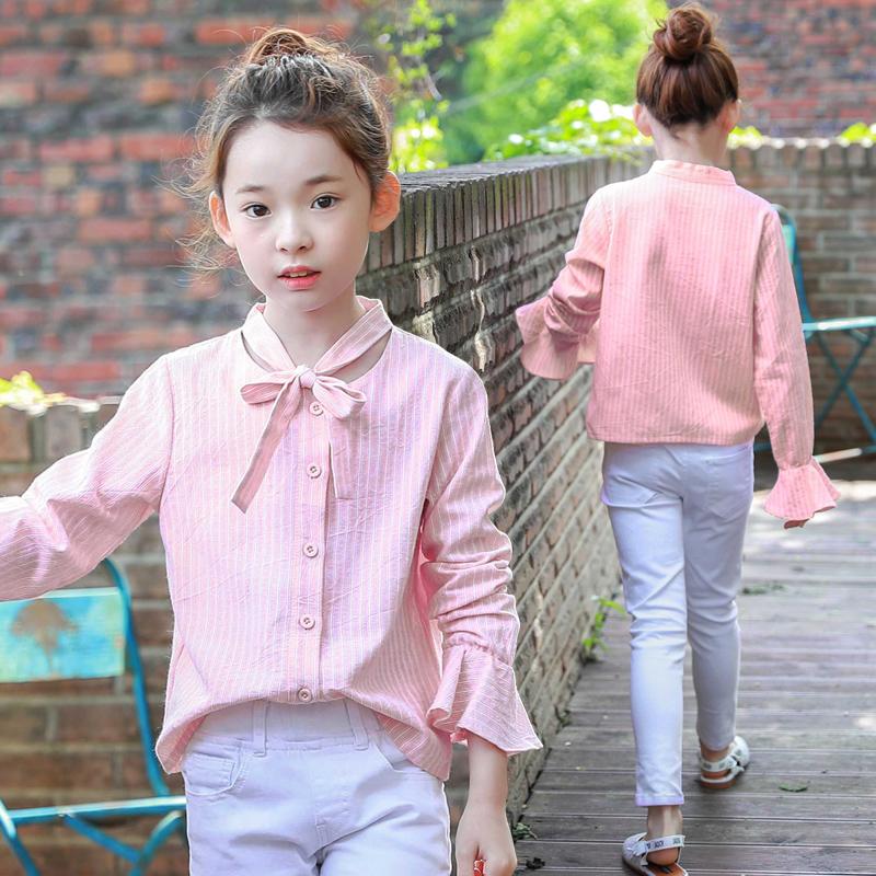 女童长袖衬衫秋装韩版中大童装翻领喇叭袖上衣女孩条纹小清新衬衣