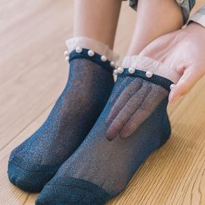 5双装蕾丝花边船袜女春夏薄款水晶丝短袜韩国铆钉金银丝珍珠袜子