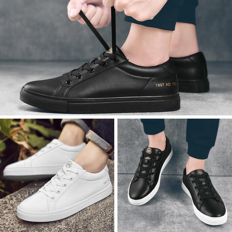 新款全黑秋皮鞋子 2018 男士休闲夏季运动板鞋韩版潮流英伦百搭原宿