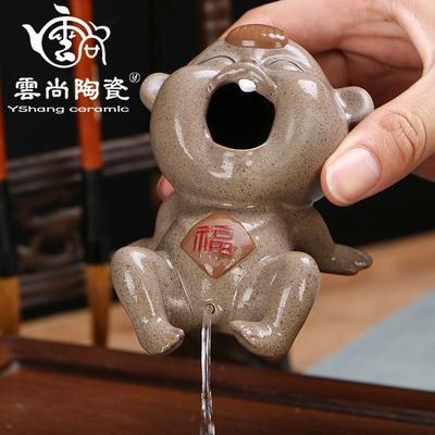 精品创意茶宠摆件 大号撒尿童子喷水茶玩 紫砂陶功夫茶具茶道配件
