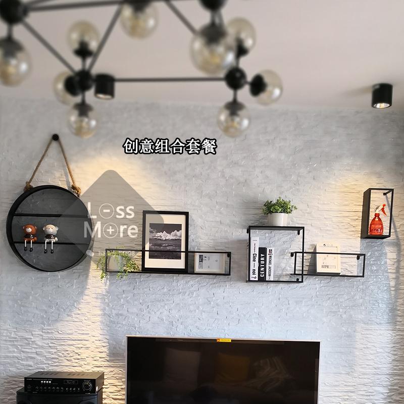 墙上铁艺置物架北欧ins壁挂 工业风置物架背景墙装饰一字隔板包邮
