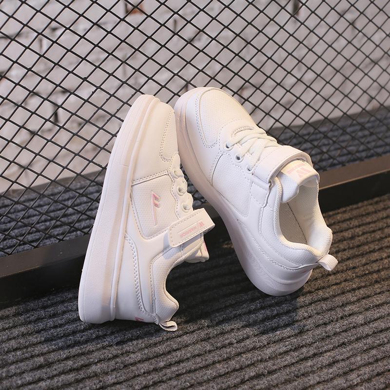秋冬新款学生男童女童中大童小白鞋子 2018 回力童鞋儿童白色运动鞋