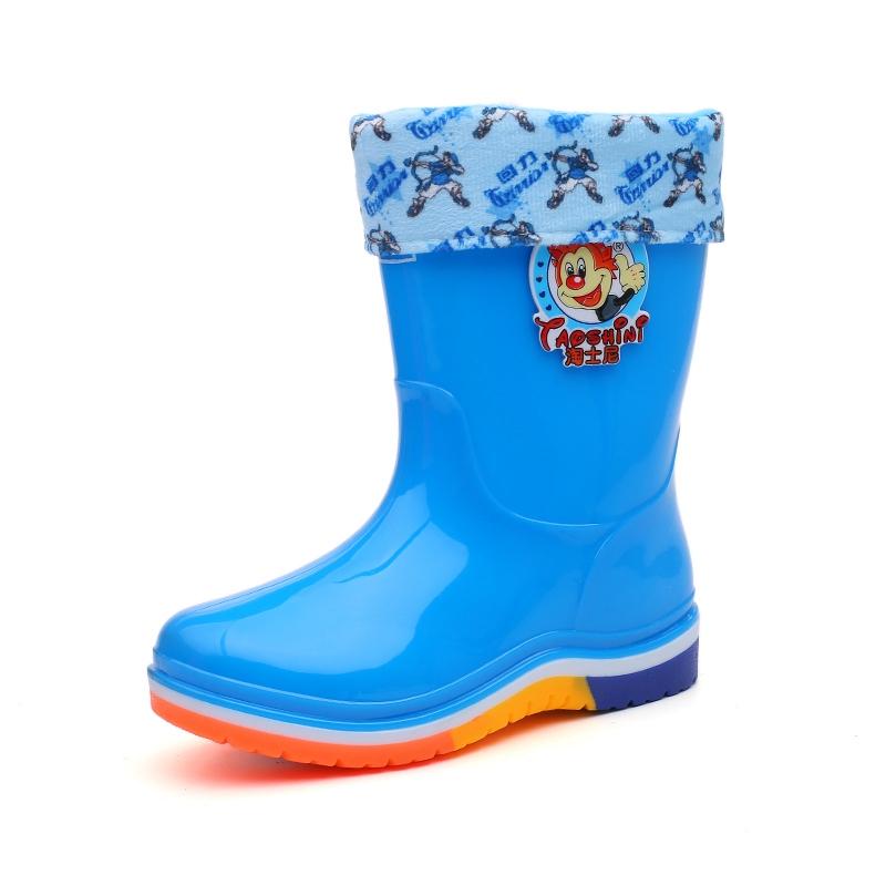 回力童鞋儿童雨靴加绒防滑男童雨鞋女童水鞋中筒高筒大童胶鞋