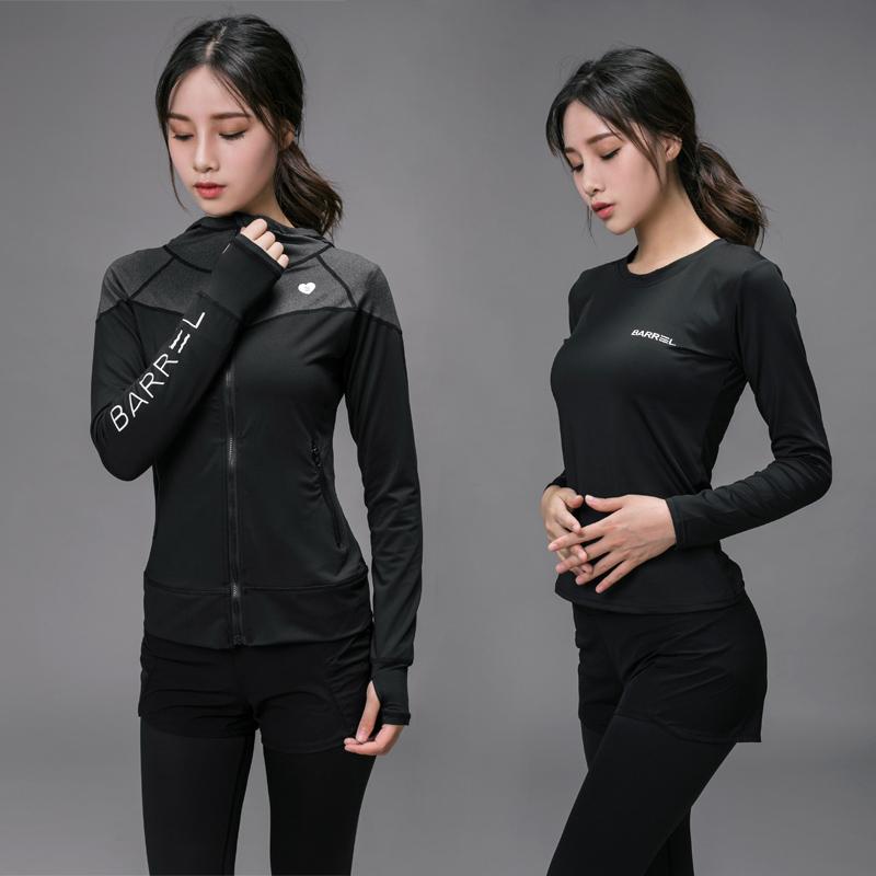 健身服瑜伽运动套装女韩国专业健身房2017新款跑步带胸垫秋冬长袖