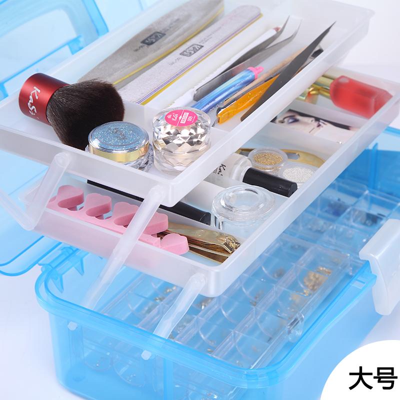 KaSi美甲工具箱三层手提工具盒化妆收纳箱美甲收纳盒大容积