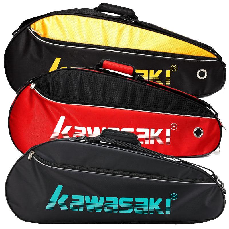 Kawasaki/川崎羽毛球包8308三支裝獨立鞋袋羽毛球拍包紅黑、黑黃