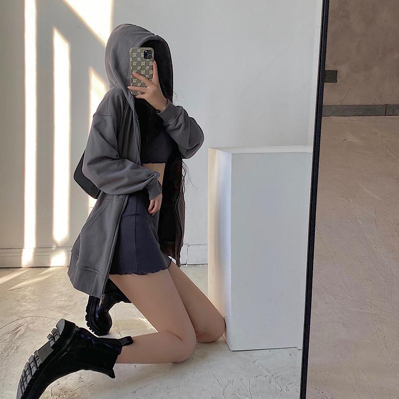 YoungGirlDay2021新款欧美宽松显瘦休闲连帽百搭运动卫衣拉链外套