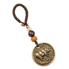汽车钥匙挂件黄铜十二生肖车钥匙扣纯铜男士个性创意手工小挂件女