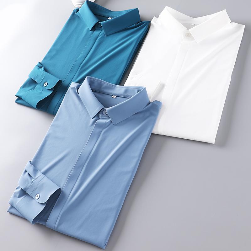 秋季男士高档衬衫 无痕裁剪+压胶工艺 高弹力丝滑尖领商务衬衣 男