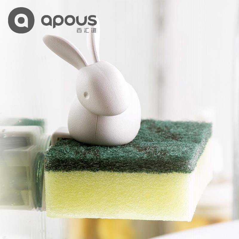 泰国Qualy创意清洁布沥水架挂架+鸭子海绵清洁擦套装抖音同款