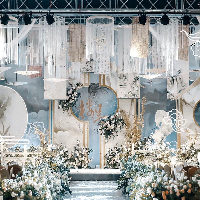 新中式婚慶道具古典飄頂卷畫軸婚禮吊頂裝飾掛畫古風江南山水墨畫