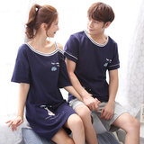 2 sets of price Korean version of the spring and autumn models of cotton couple pajamas women summer short-sleeved thin section sexy nightdress men's home service