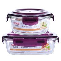 乐和家耐热玻璃饭盒带盖密封碗保鲜盒微波炉专用2件套装长方形 (¥18)