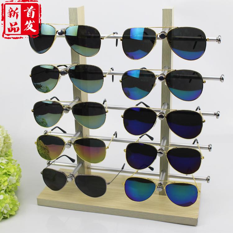 包邮太阳眼镜展示架木质木纹精品展架柜台式眼睛展架墨镜陈列展架